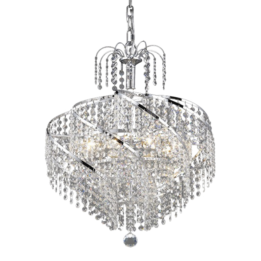 Shop Elegant Lighting Spiral 18 In 8 Light Chrome Crystal Crystal Regarding Crystal Waterfall Chandelier (Image 12 of 15)
