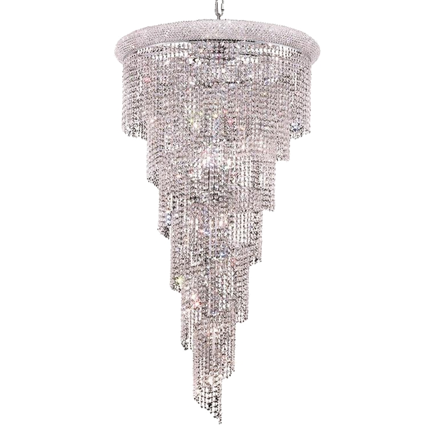 Shop Elegant Lighting Spiral 30 In 22 Light Chrome Crystal Crystal Regarding Waterfall Crystal Chandelier (Image 13 of 15)