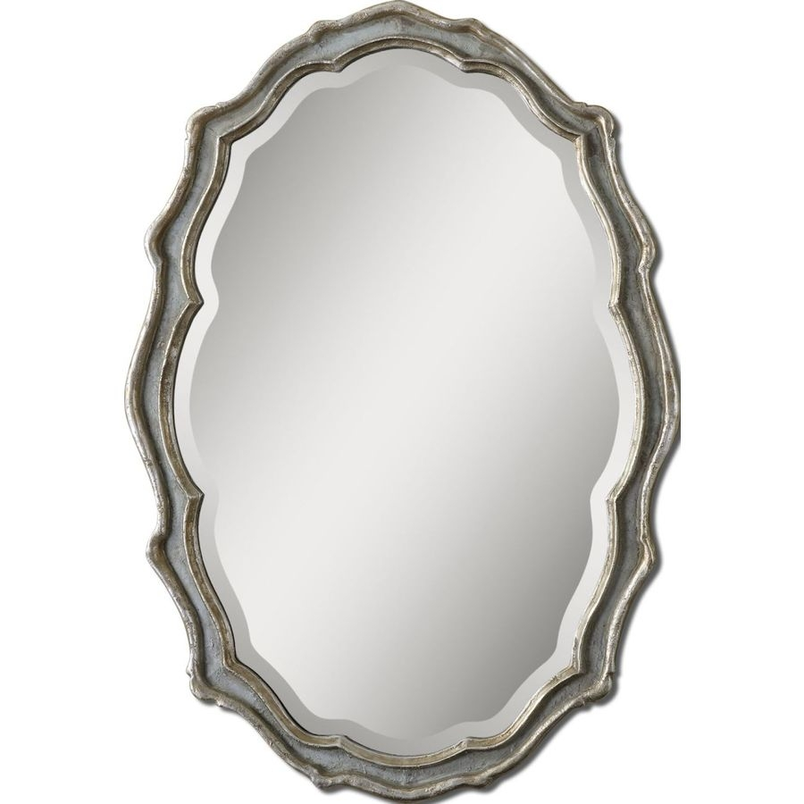 Shop Global Direct 2775 In X 40 In Slate Blue Beveled Oval Framed Inside Oval French Mirror (View 14 of 15)