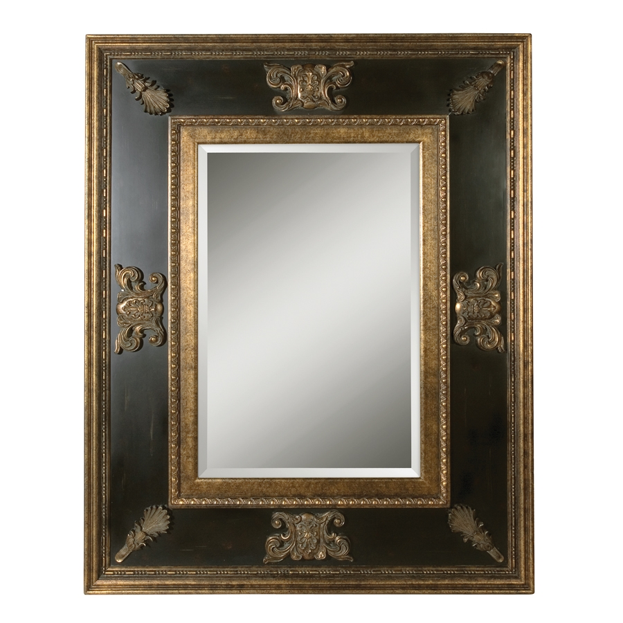 Shop Global Direct 60 In X 48 In Gold Leaf With Heavy Antiquing With Regard To Black And Gold Wall Mirror (Image 15 of 15)