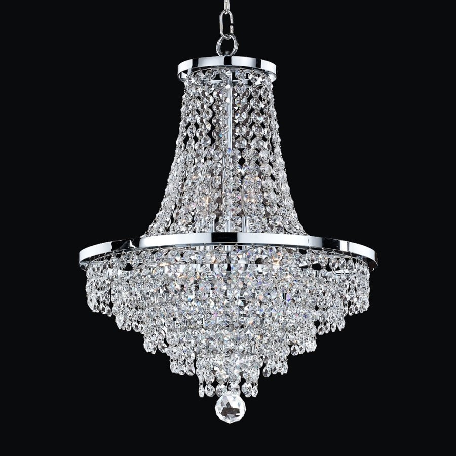 Shop Glow Lighting Vista 16 In 8 Light Silver Pearl Crystal Clear Regarding Silver Chandeliers (Image 11 of 15)