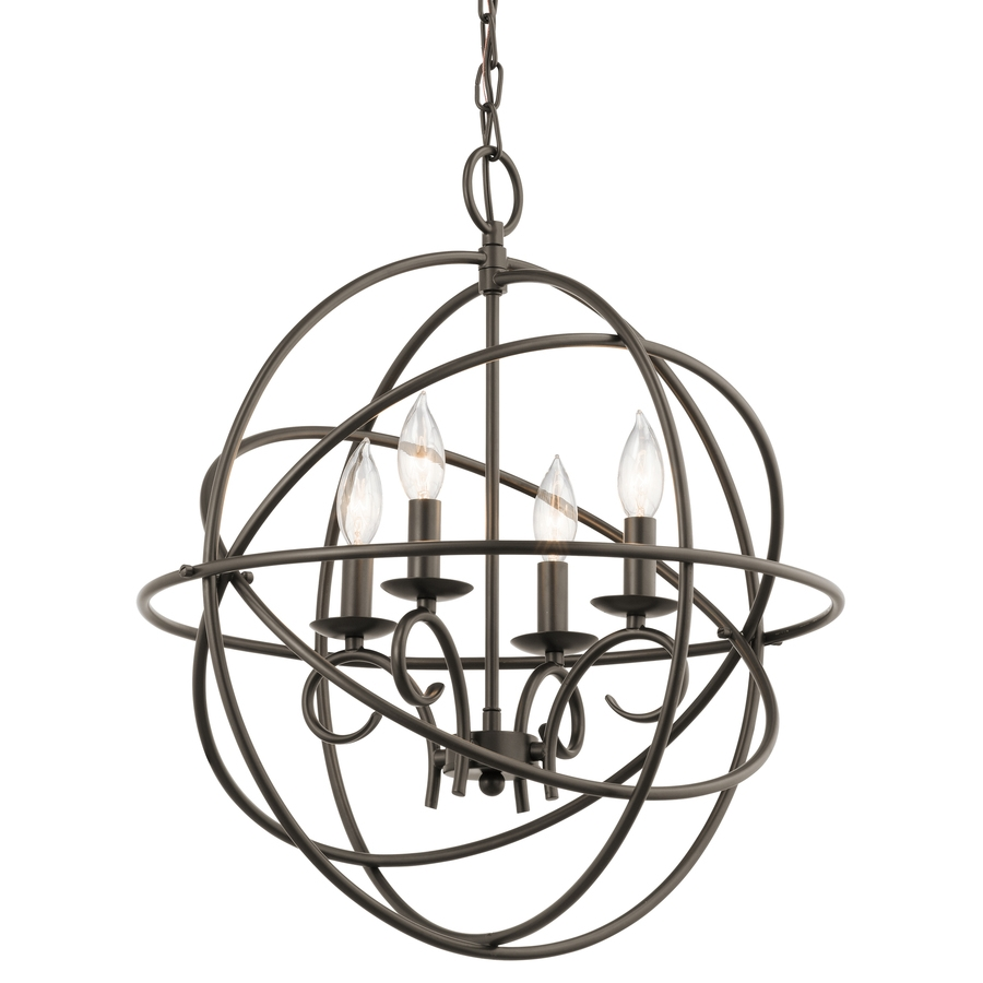 Shop Kichler Vivian 1902 In 4 Light Olde Bronze Globe Chandelier Intended For Chandelier Globe (Image 13 of 15)