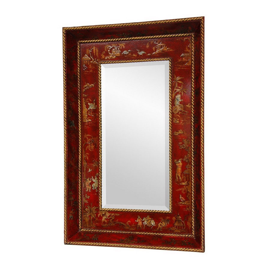 Shop Oriental Furniture 22 In X 335 In Red Lacquer Rectangle In Red Wall Mirrors (Image 15 of 15)