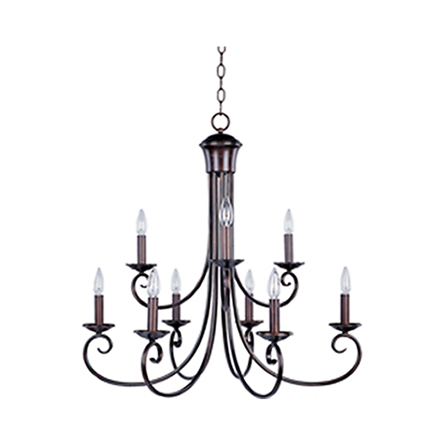 Shop Pyramid Creations Loft 295 In 9 Light Oil Rubbed Bronze Within Large Bronze Chandelier (View 12 of 15)