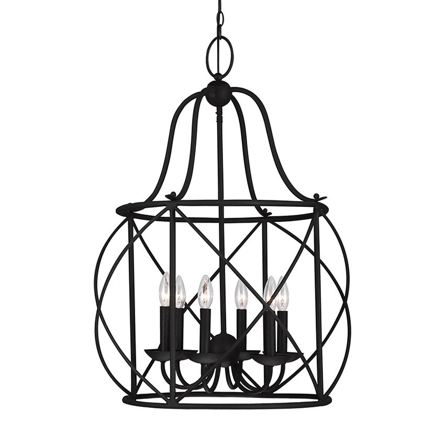 Shop Sea Gull Lighting Turbinio 2225 In 6 Light Blacksmith Pertaining To Caged Chandelier (Image 12 of 15)