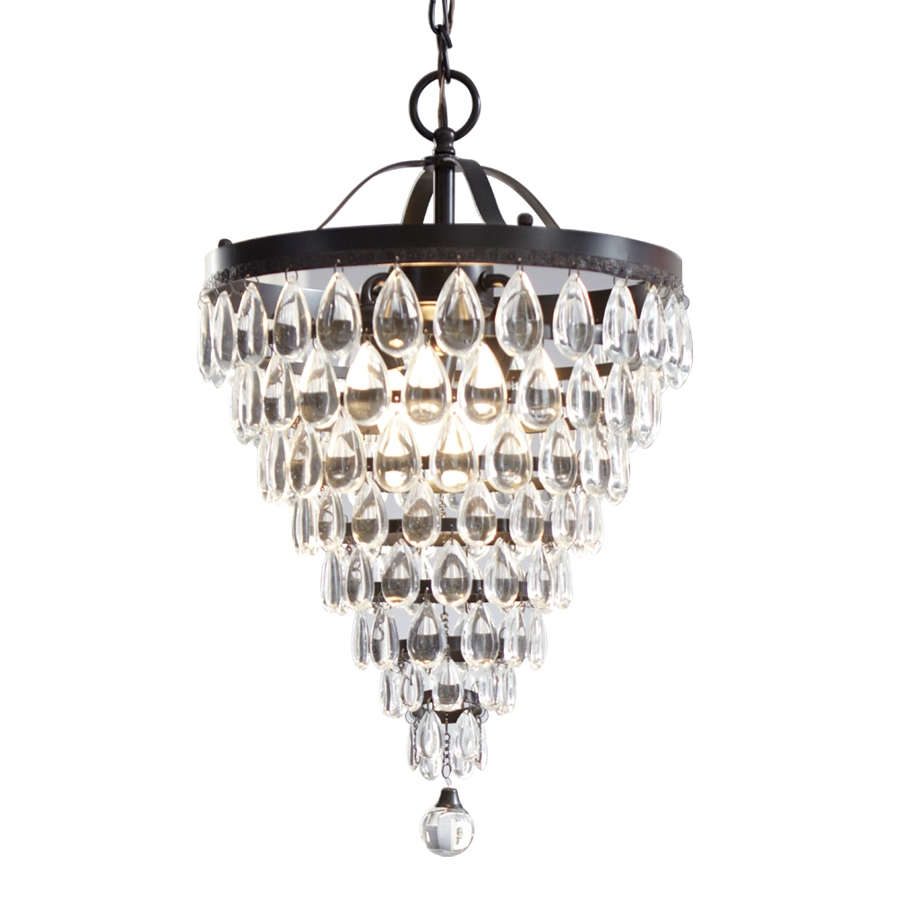 Shop Style Selections 3 Light Antique Bronze Crystal Chandelier At Throughout Bronze And Crystal Chandeliers (View 4 of 15)
