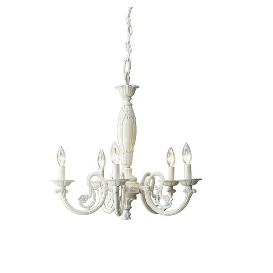 Shop Style Selections Abrell 22 In 5 Light Antique White Standard Intended For Antique Style Chandeliers (Image 15 of 15)