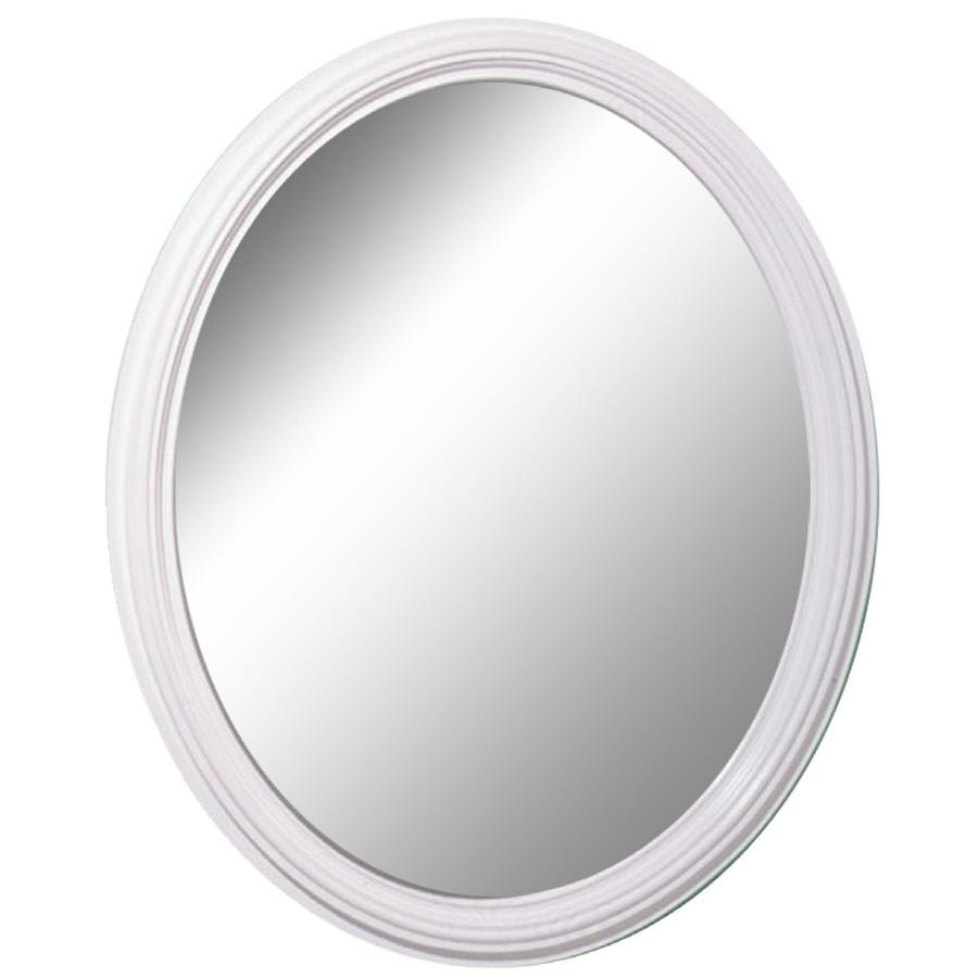 Shop Style Selections White Oval Framed Wall Mirror At Lowes Pertaining To White Oval Mirror (Image 10 of 15)