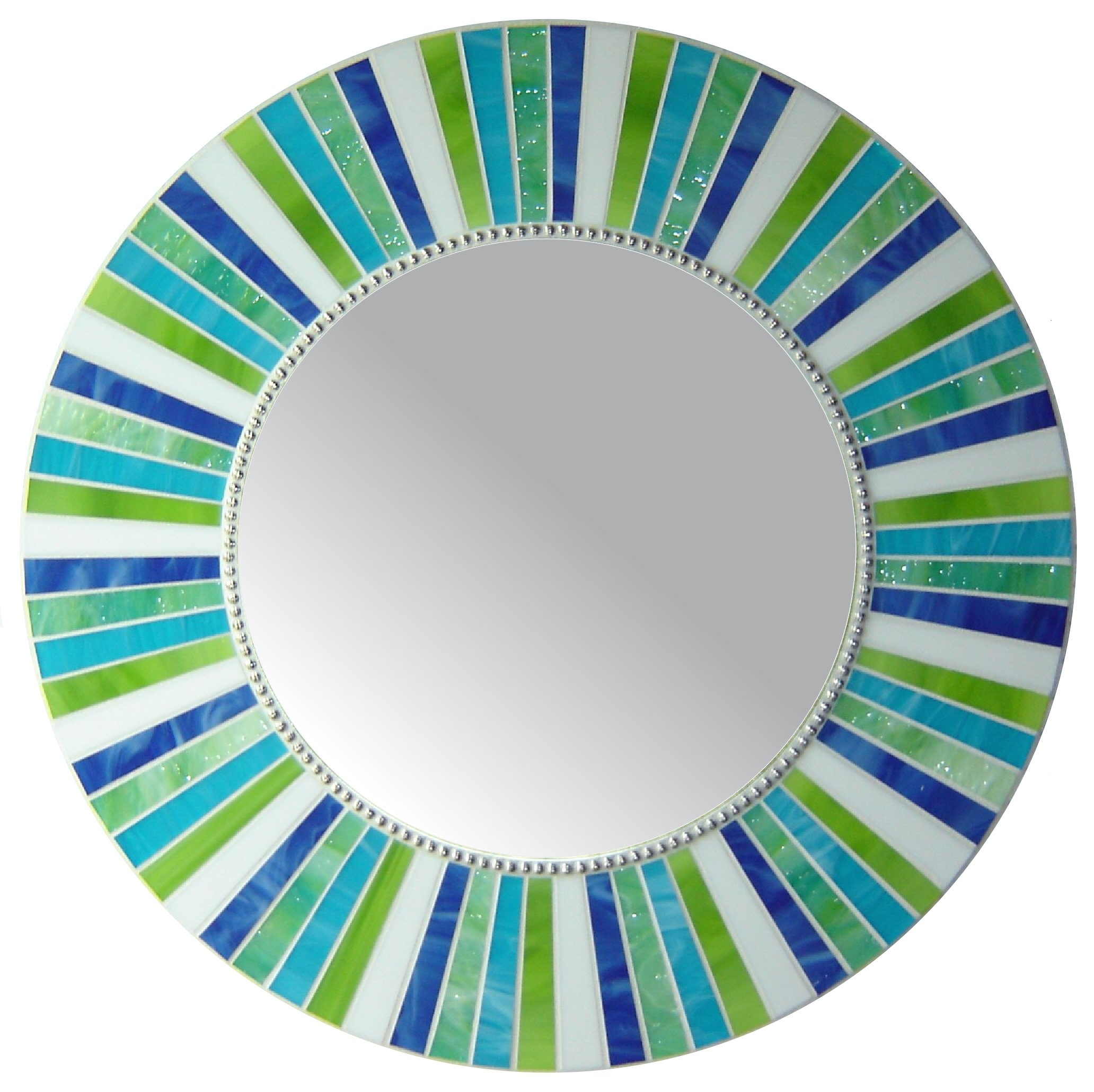 Signature Collection Custom Mosaic Mirrors Opus Mosaics Within Blue Round Mirror (Image 14 of 15)