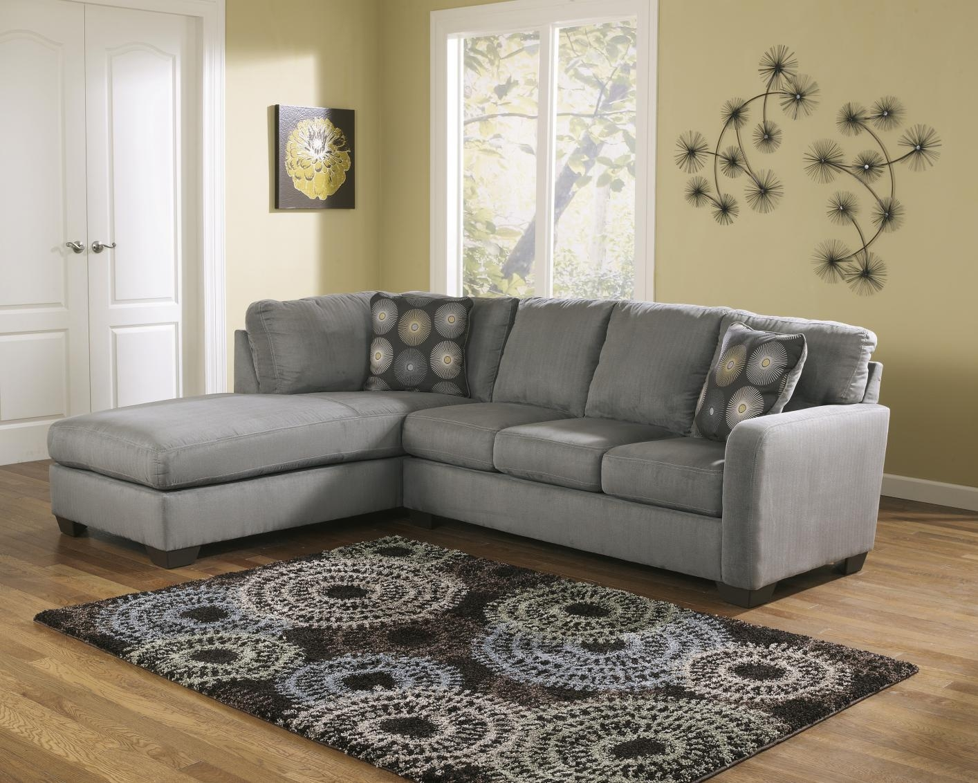 Signature Design Ashley 7020067 7020016 Grey Fabric Sectional With Fabric Sectional Sofa (Image 15 of 15)