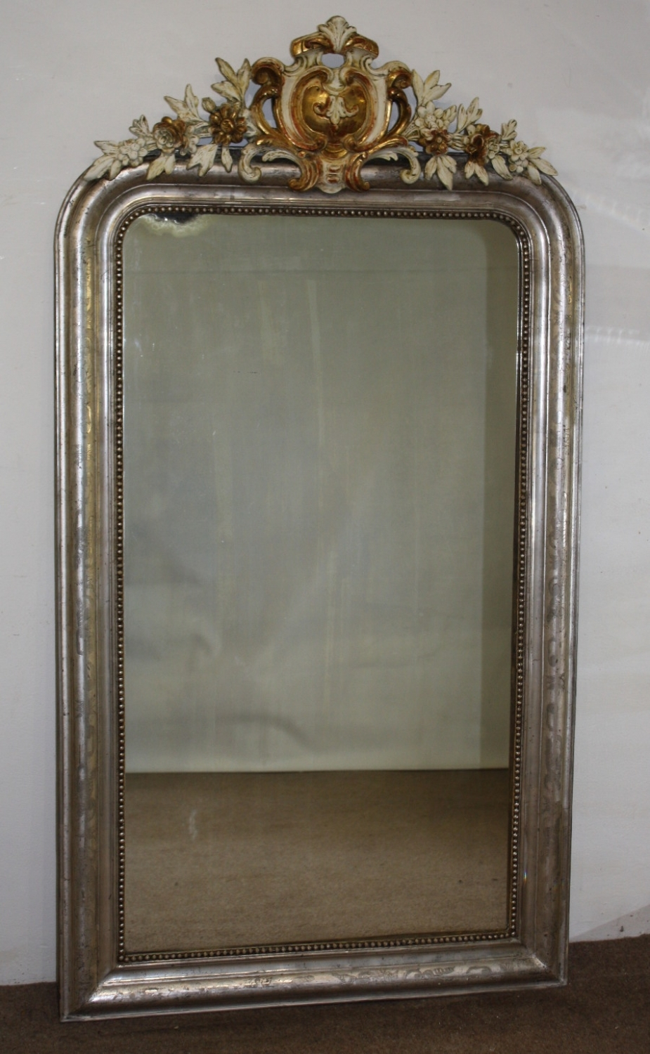 Silver Arched Mirror With Gold And Cream Cart Throughout Full Length Gold Mirror (Image 12 of 15)