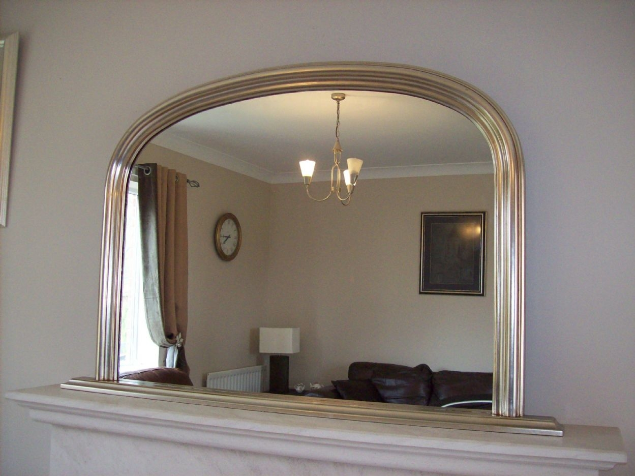 Silver Arched Overmantle Mirror Throughout Antique Overmantle Mirrors (Image 14 of 15)