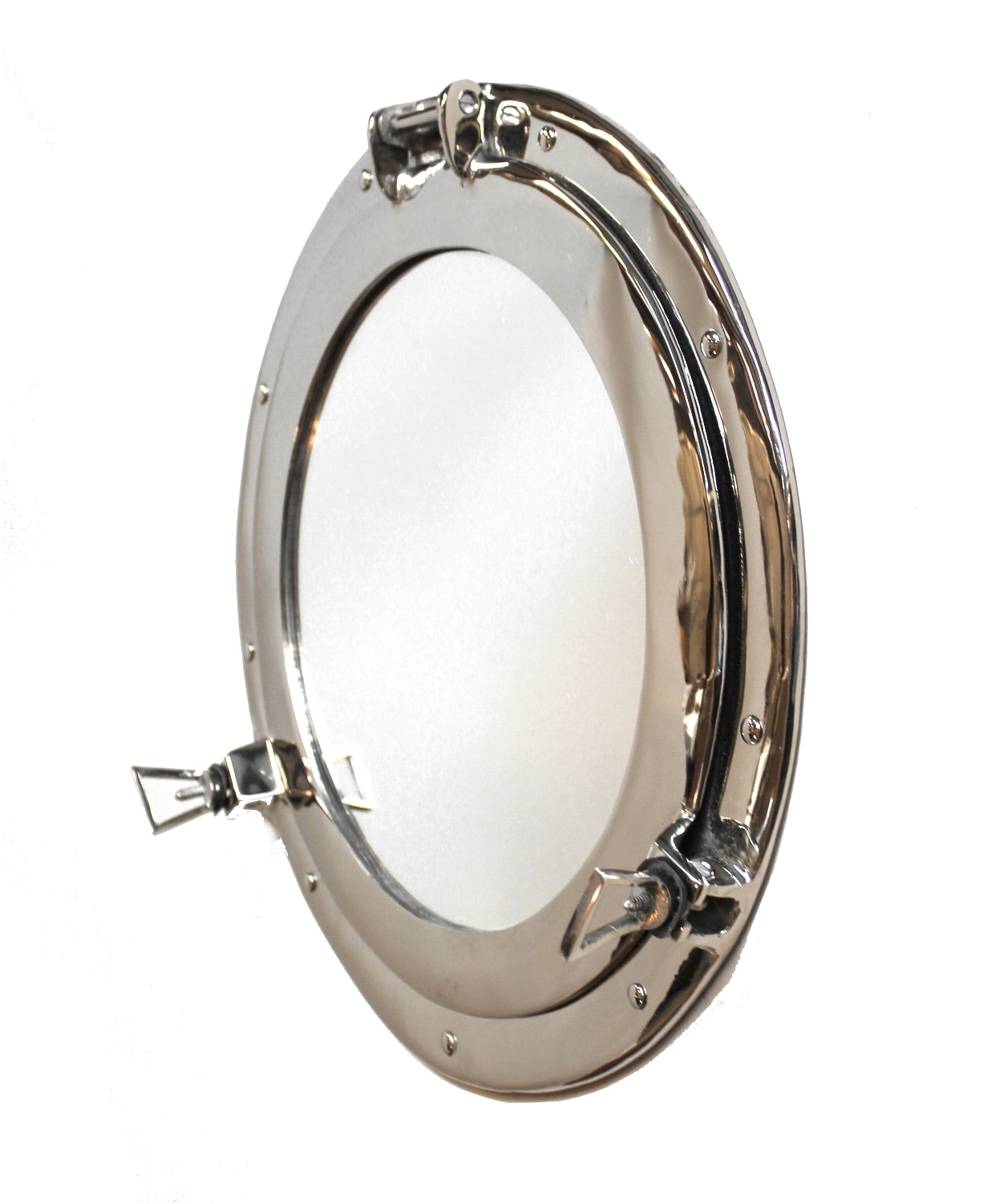 Silver Bedroom Bathroom Mirror Swivel Mount Bamboo Edge Throughout Chrome Porthole Mirror (Image 13 of 15)