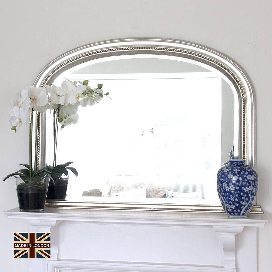 Silver Bevelled Overmantle Mirror Mirrors Pinterest Inside Mantlepiece Mirrors (Image 14 of 15)