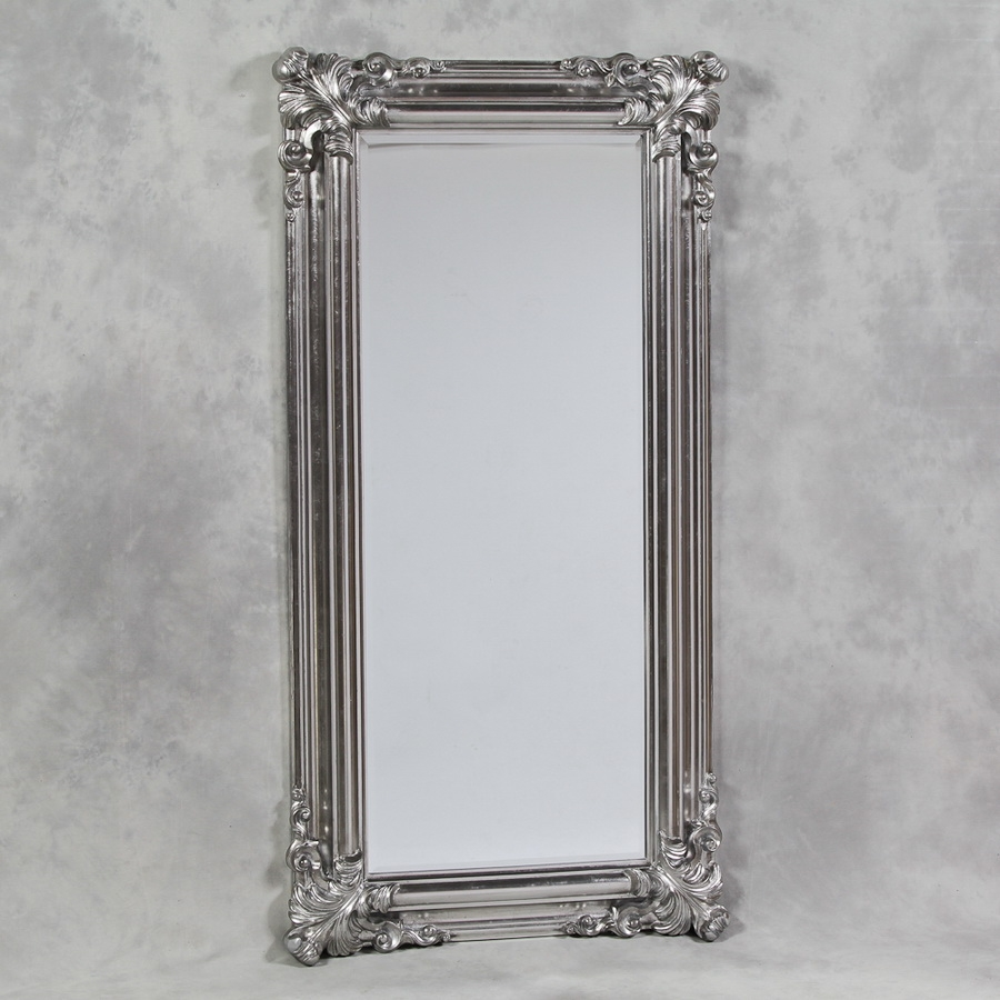 Silver Framed Mirrors With Regard To Silver Floor Standing Mirror (Image 14 of 15)