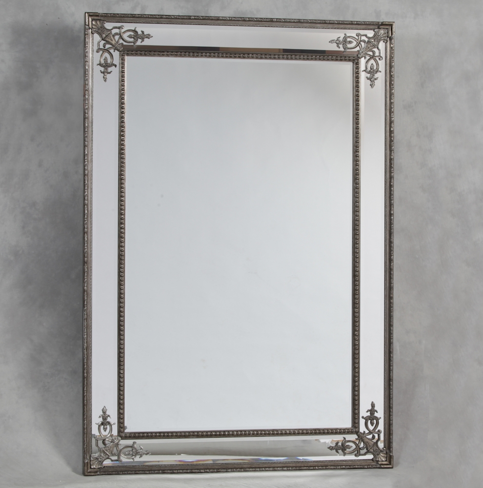 Silver French Style Cimiero Wall Mirror 192 X 134cm Exclusive Intended For Large French Style Mirror (Image 15 of 15)
