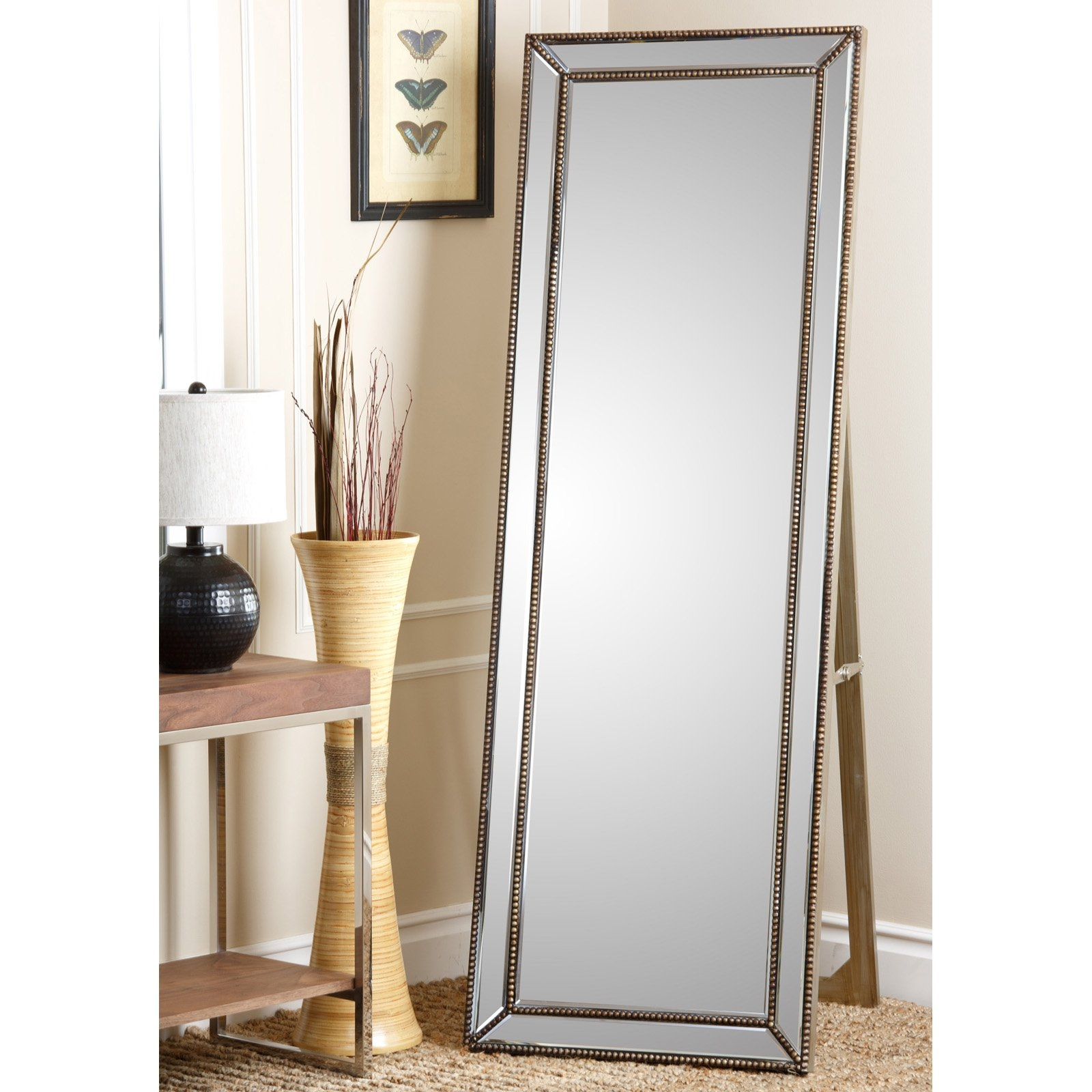 Silver Gold Full Length Cheval Floor Mirror 18w X 64h In Inside Silver Cheval Mirror (Image 13 of 15)