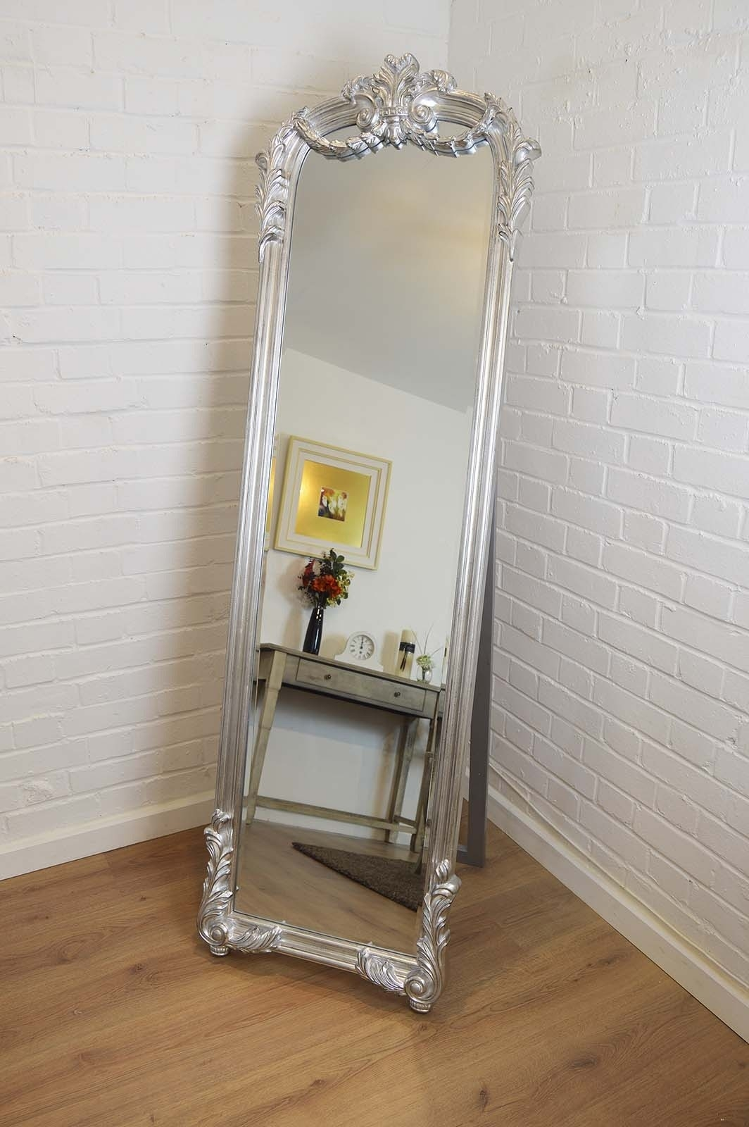 Silver Large Free Standing Antique Style Cheval Mirror 5ft10 X Intended For Cheval Free Standing Mirror (Image 13 of 15)