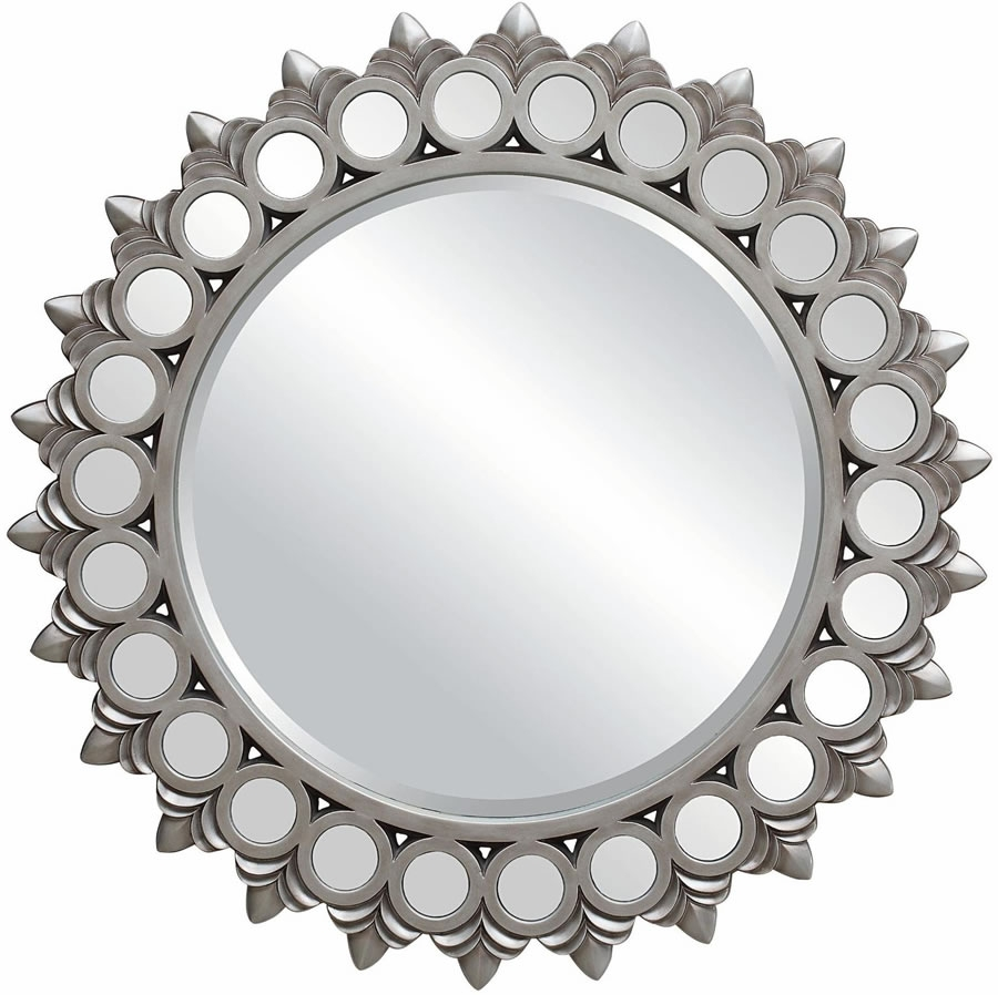 Silver Mirror Big Round Mirrors For Walls Antique Silver Round Throughout Silver Round Mirrors (Image 11 of 15)