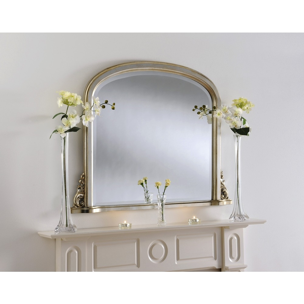 Silver Mirror Compton Silver Overmantel Mirror Select Mirrors Throughout Overmantel Mirror (Image 9 of 15)