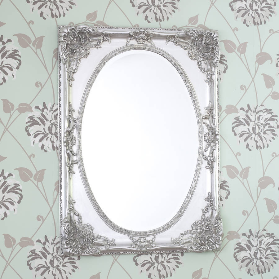 Silver Ornate Oval Shaped Mirror Decorative Mirrors Online Throughout Ornate Silver Mirrors (View 10 of 15)
