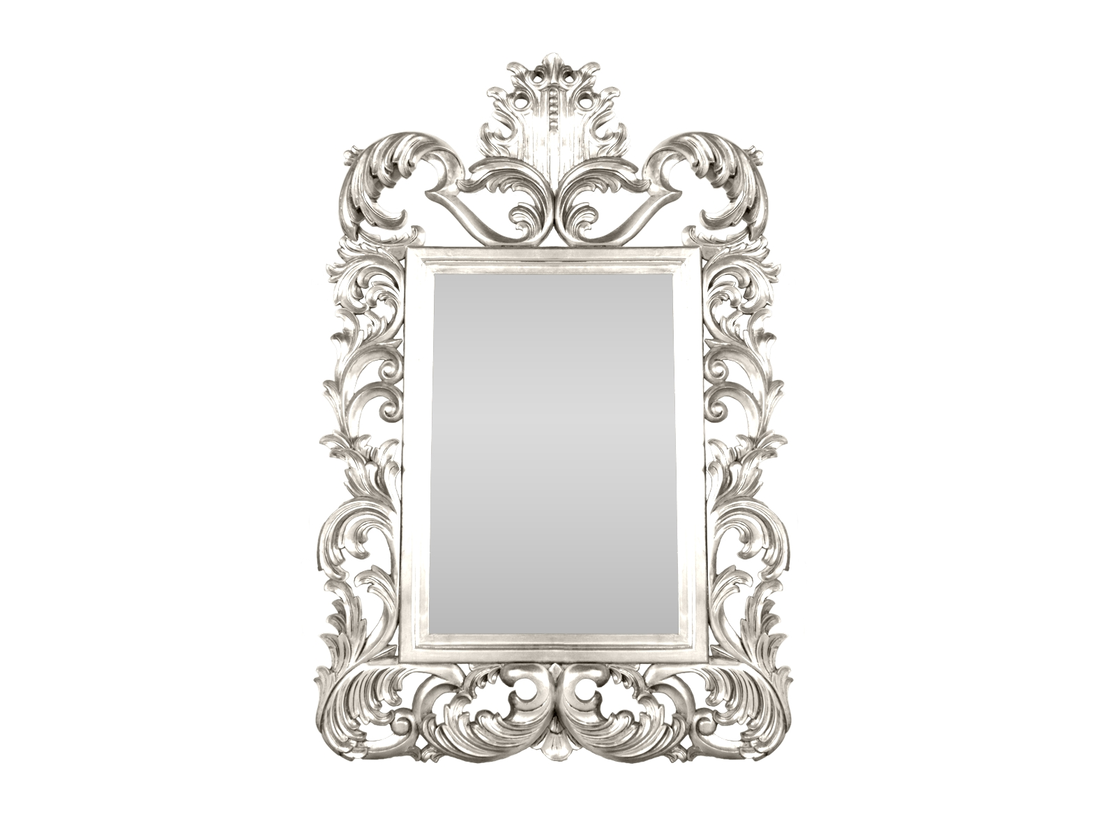 Silver Rococo Mirror Hidden Mill Throughout Large White Rococo Mirror (Image 12 of 15)