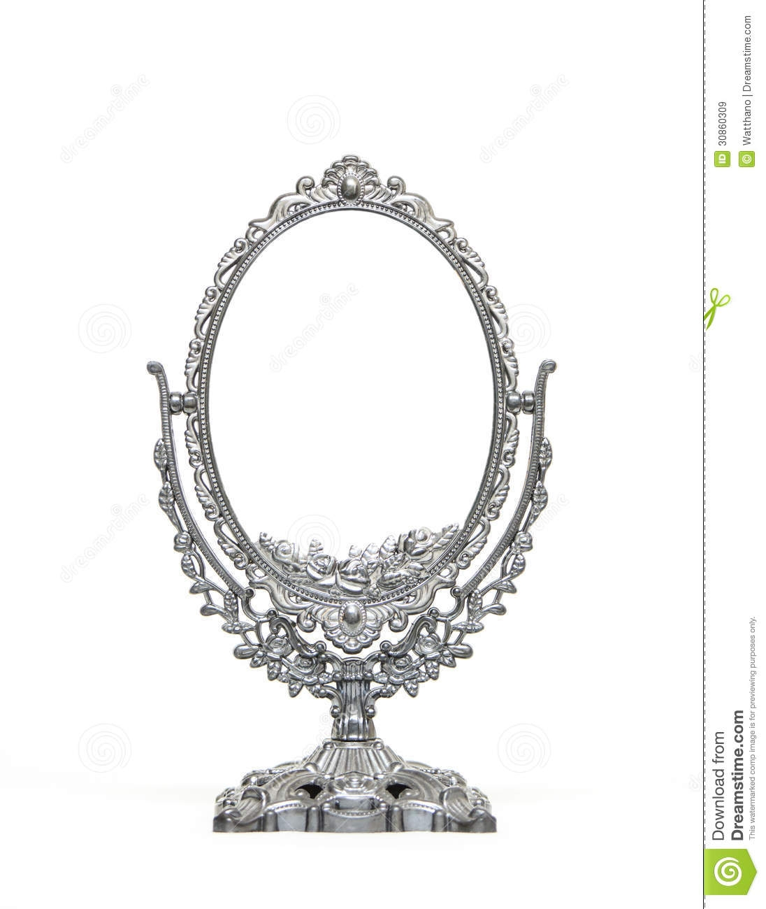 Silver Vintage Mirror Isolated On White Background Royalty Free Within Silver Vintage Mirror (View 9 of 15)
