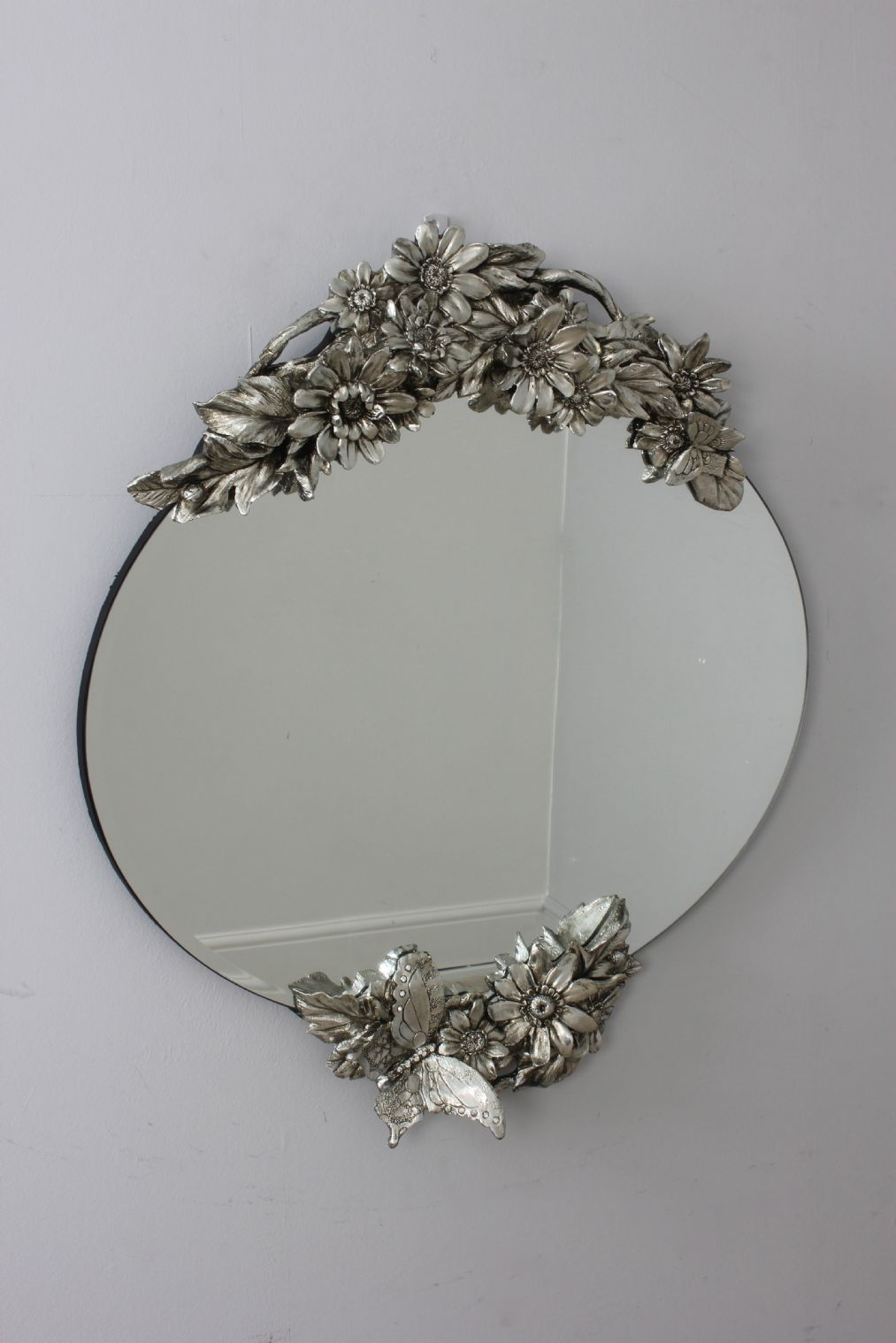 Silver Vintage Style Oval Frameless Wall Mirror With Flowers With Silver Vintage Mirror (View 7 of 15)