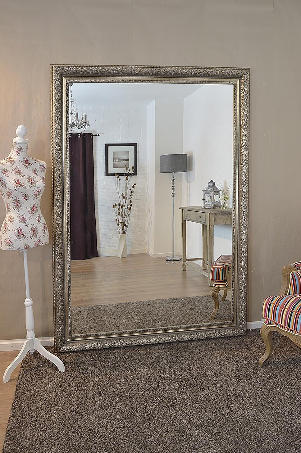 Silver Wall Mirrors Decorative Inarace In Large Ornate Wall Mirror (Image 15 of 15)