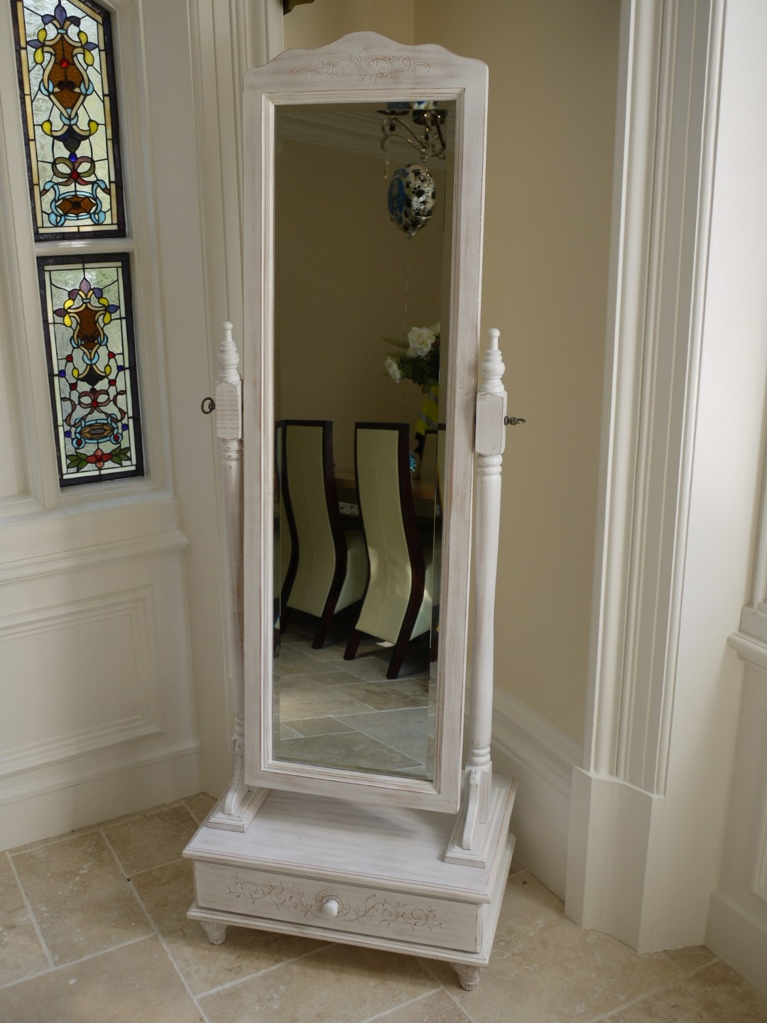 Simple And Neat Full Length White Coloured Standing Mirror With With Regard To Full Length Free Standing Mirror With Drawer (Image 15 of 15)