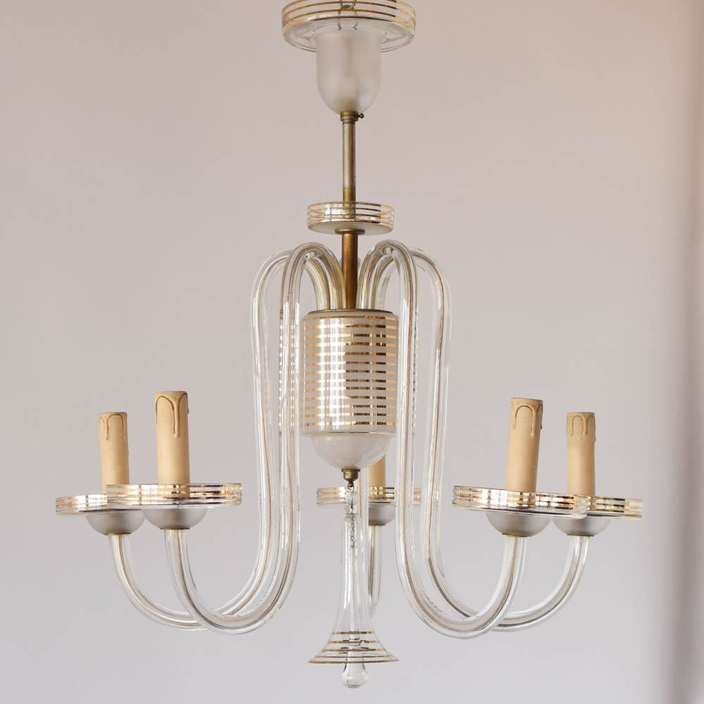 Simple Glass Chandelier Wgold Stripes The Big Chandelier Regarding French Glass Chandelier (Image 14 of 15)