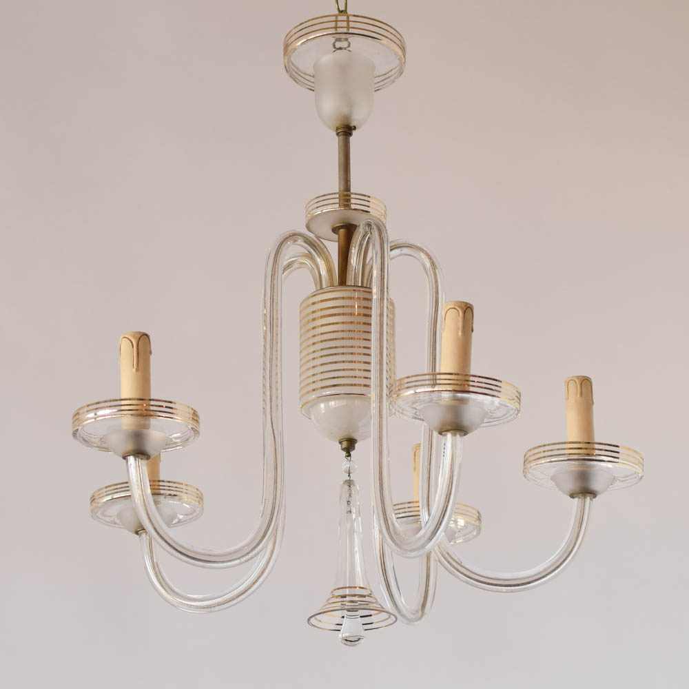 Simple Glass Chandelier Wgold Stripes The Big Chandelier With Simple Glass Chandelier (Image 13 of 15)