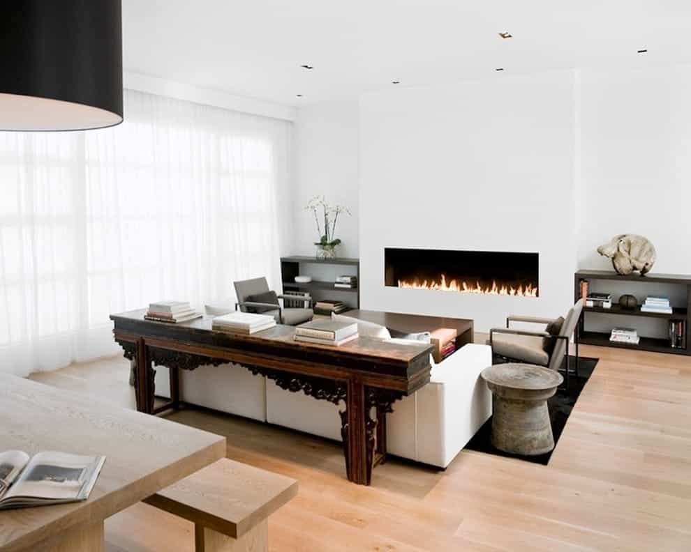 Featured Image of Simple Living Room Remodel Ideas With White Walls And A Ribbon Fireplace