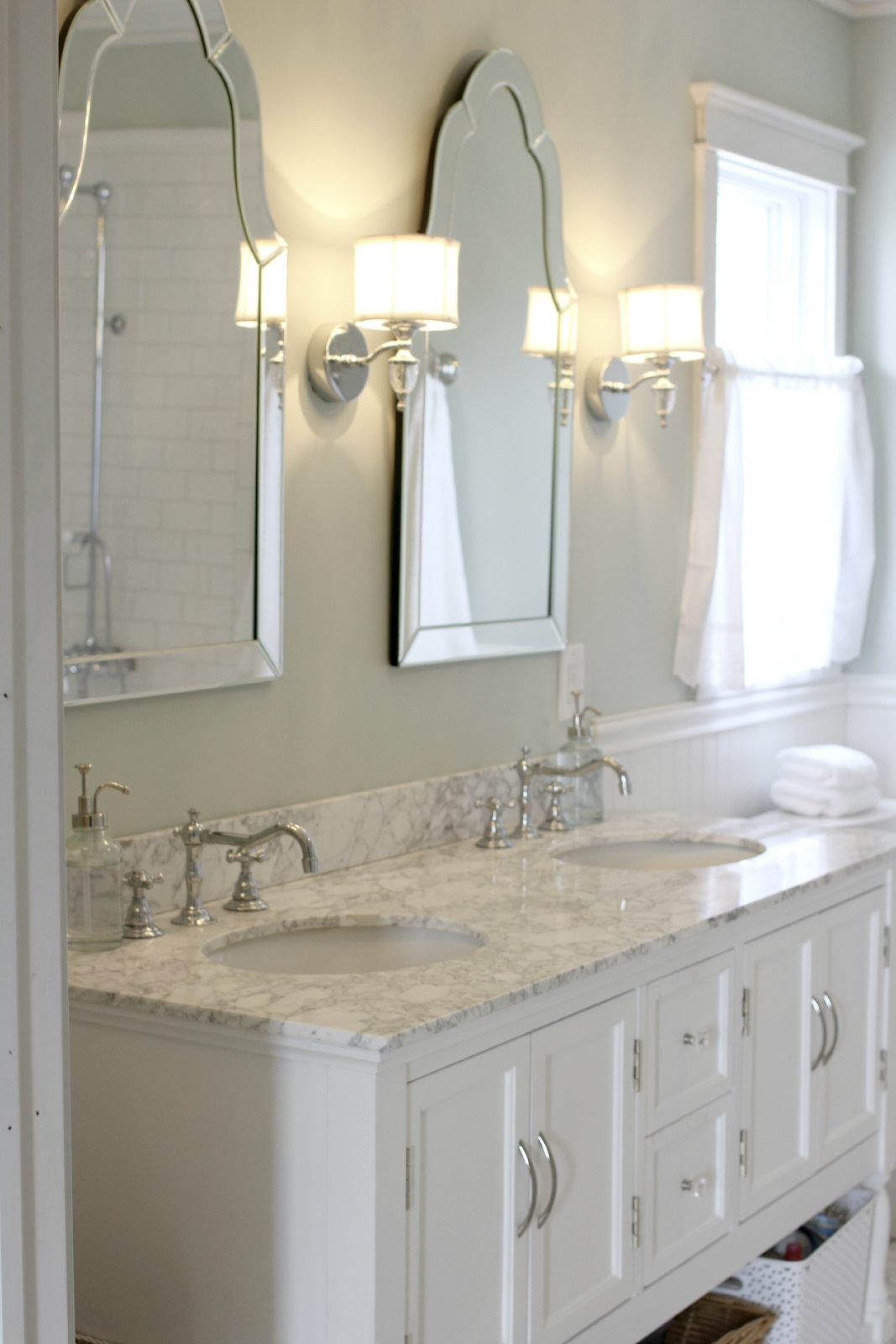Sinks With Venetian Mirrors And Pretty Sconces Master Bath Regarding Venetian Mirror Bathroom (Image 12 of 15)