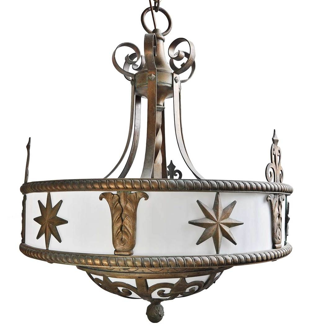 Six Candle Silver Plated Chandelier With Filigree Architectural With Regard To Large Bronze Chandelier (Image 15 of 15)