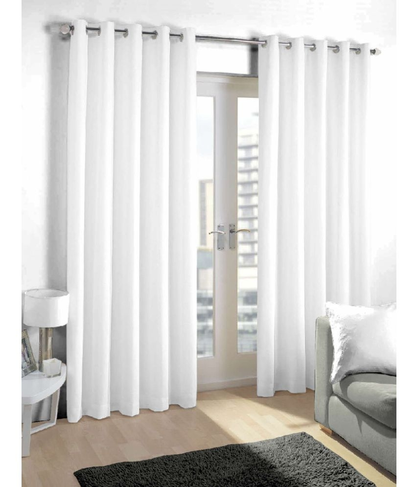 Skipper Furnishings Single Long Door Eyelet Curtains Solid White With Long Eyelet Curtains (Image 13 of 15)