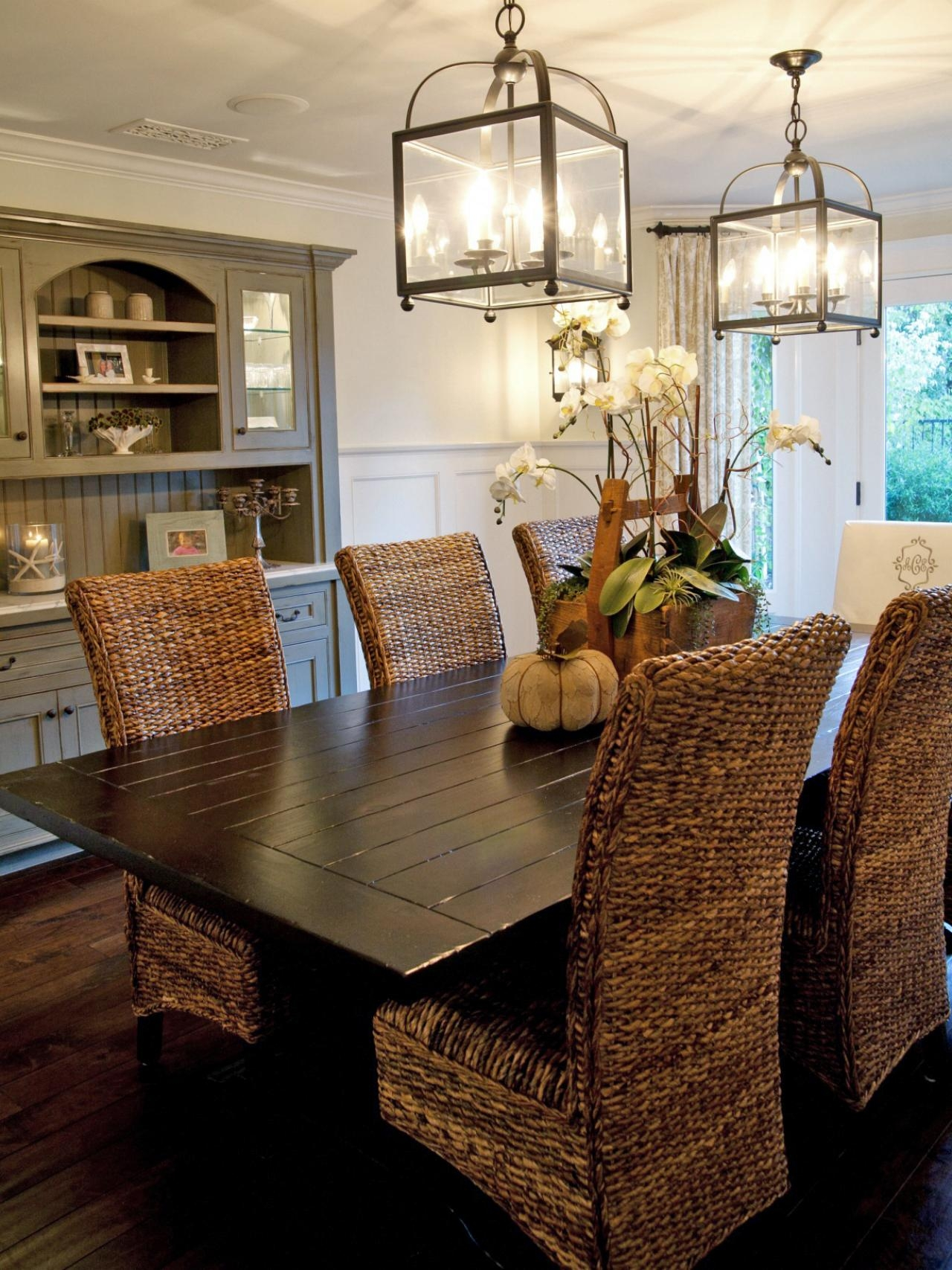 Sleigh Wicker Dining Doom Set Mixed Grey Kitchen Cabinet Elegant Throughout Indoor Lantern Chandelier (Image 15 of 15)