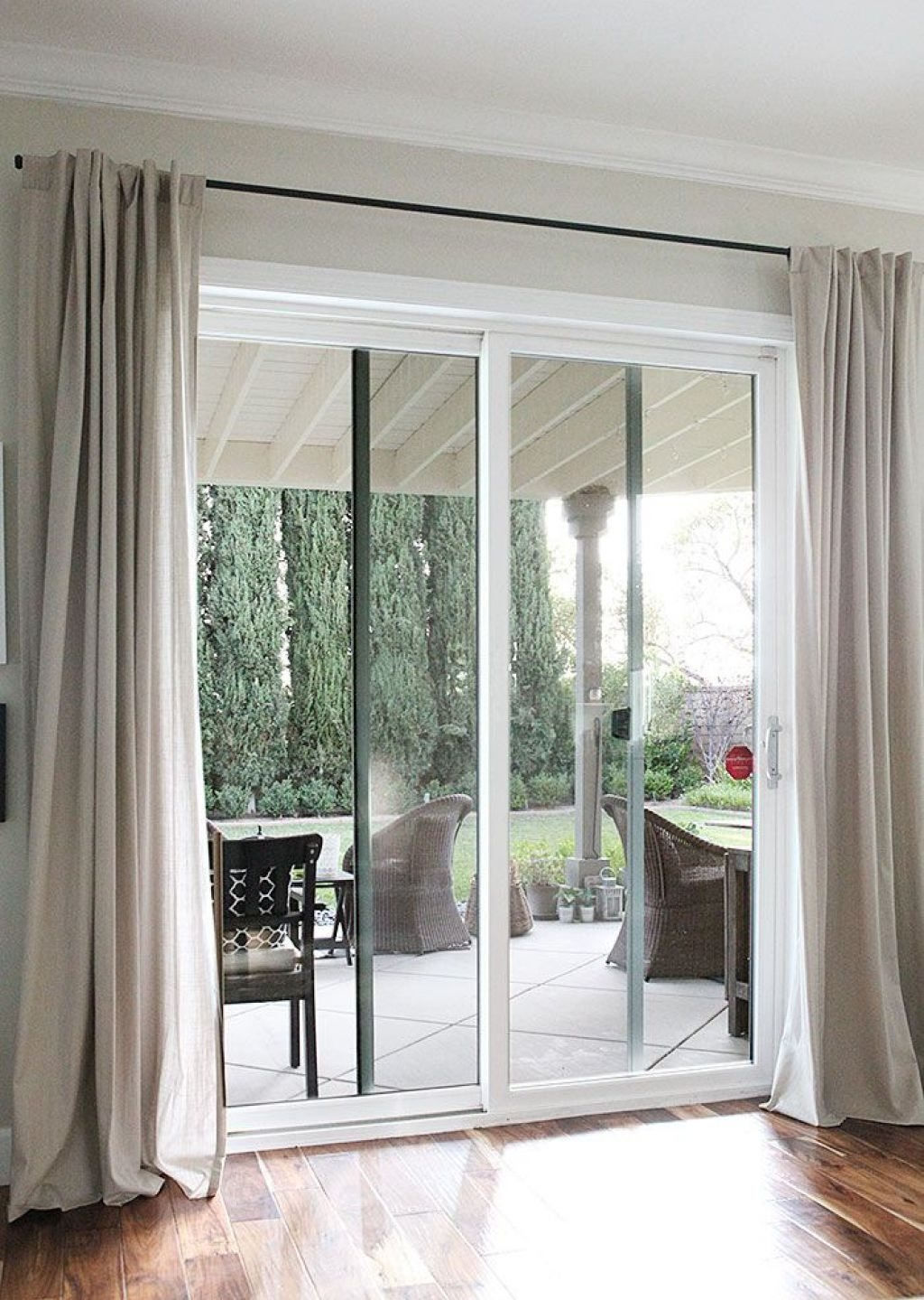Sliding Door Covered With Extra Long Curtains Without Rods Fancy With Regard To Extra Long Door Curtain (Image 15 of 15)