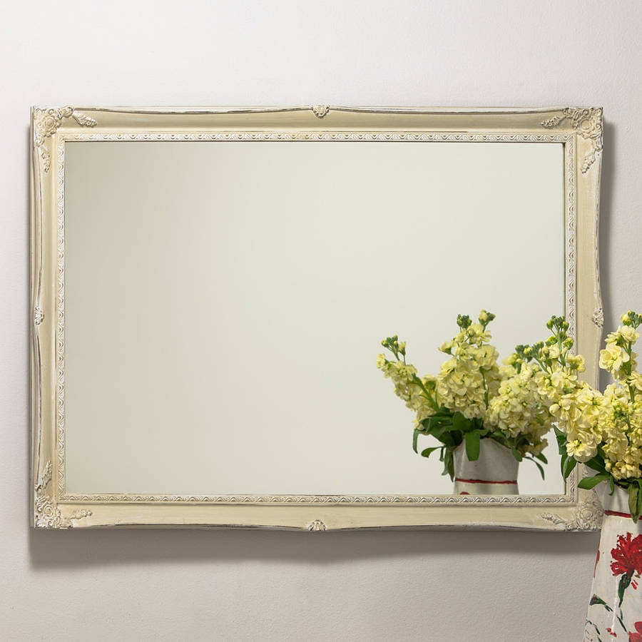 Slim Swept Hand Painted Vintage Cream White Mirror Hand Crafted With Regard To Cream Mirror (Image 13 of 15)