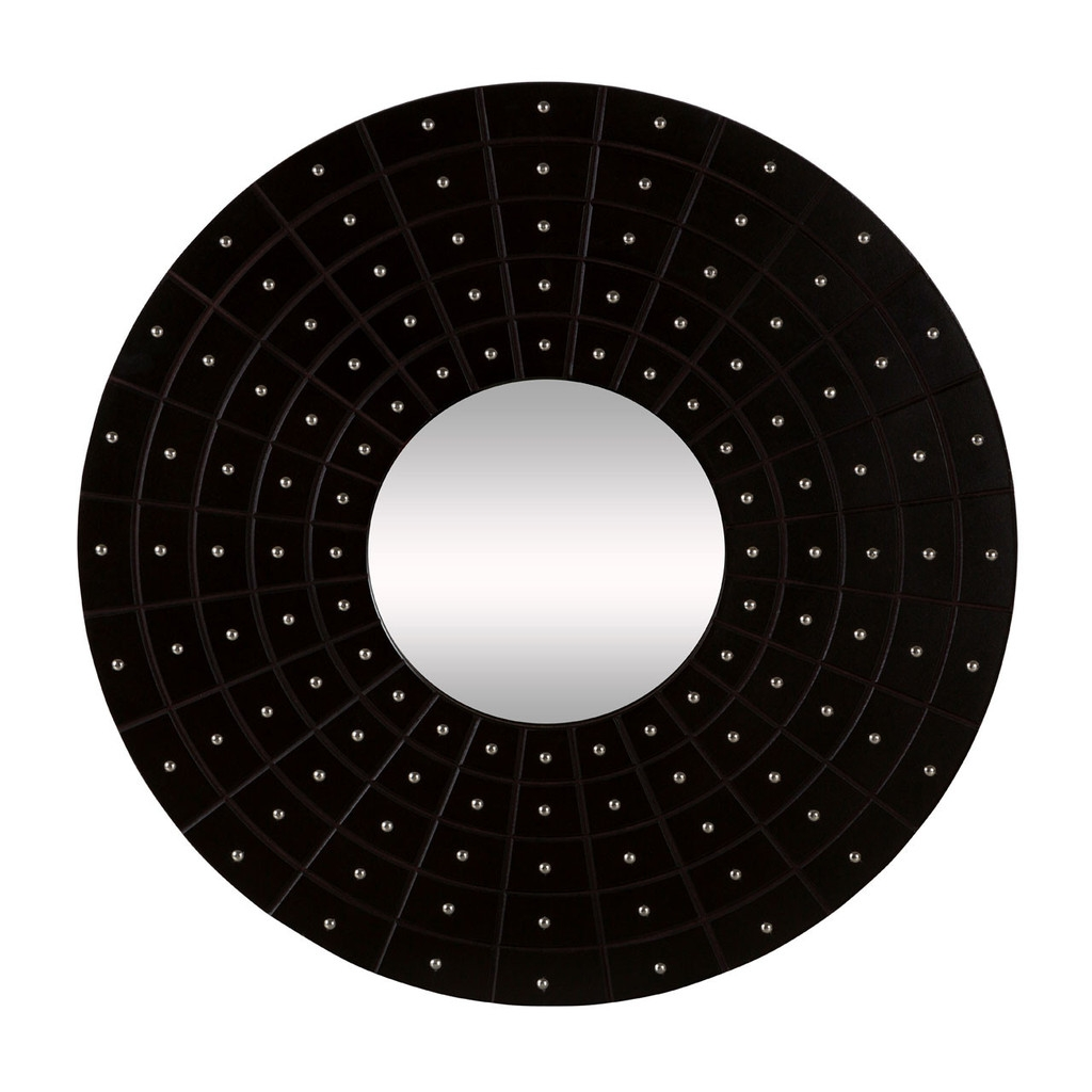 Sloane Round Wall Mirror Black Leather Effect Mdf Stud Detail With Black Leather Framed Mirror (Image 14 of 15)