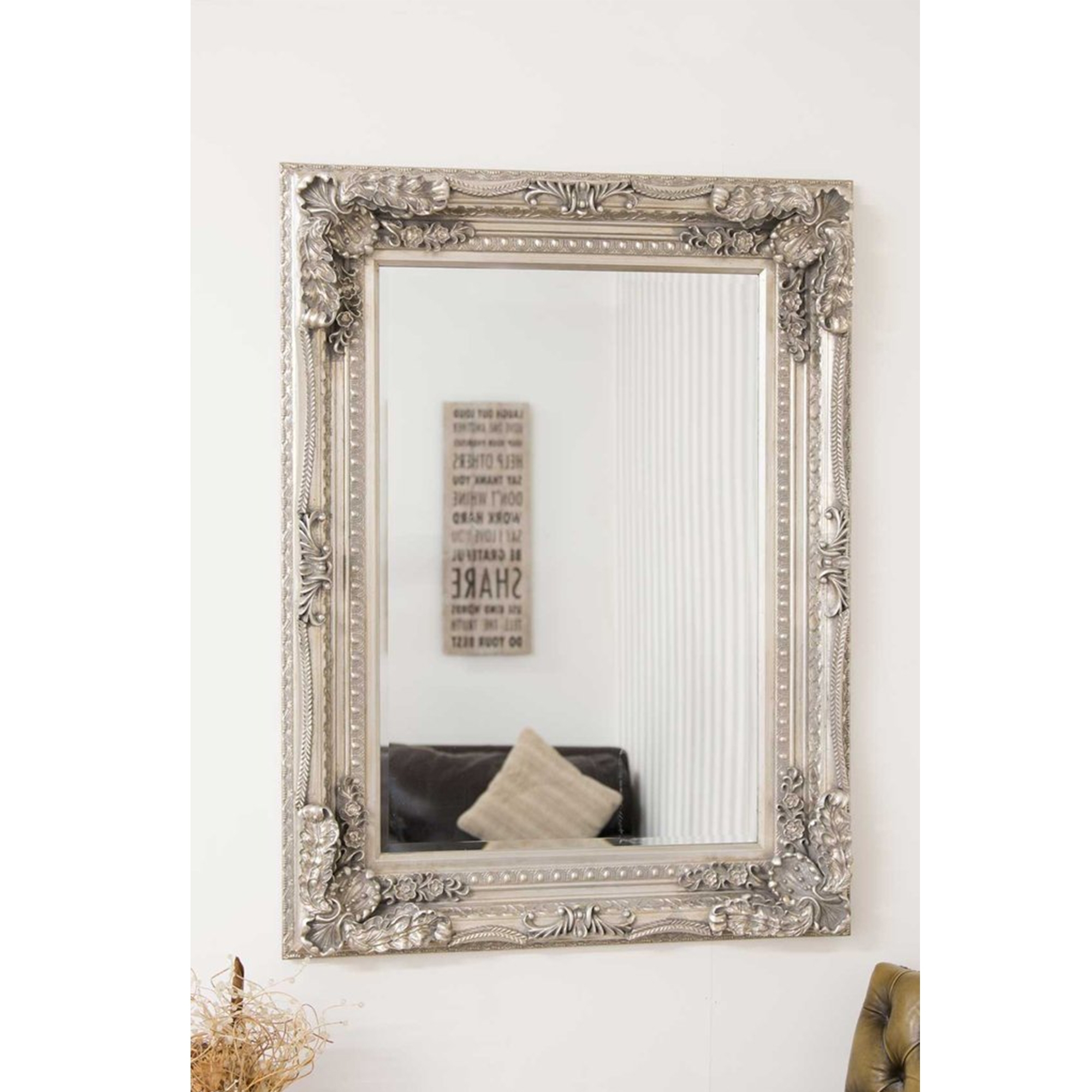 Small Carved Silver Louis Antique French Style Mirror Decorative For French Style Mirrors (Image 13 of 15)