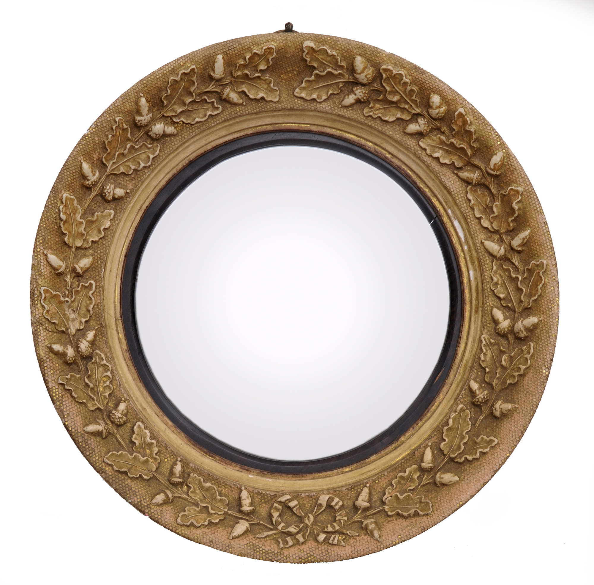 Small English Giltwood Antique Convex Mirror With Acorns Intended For Small Convex Mirrors (Image 14 of 15)