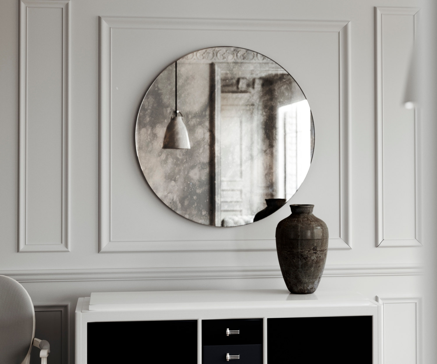 Small Frameless Round Mirror Small Vintage Inspired Antiqued Throughout Small Antique Wall Mirrors (View 5 of 15)