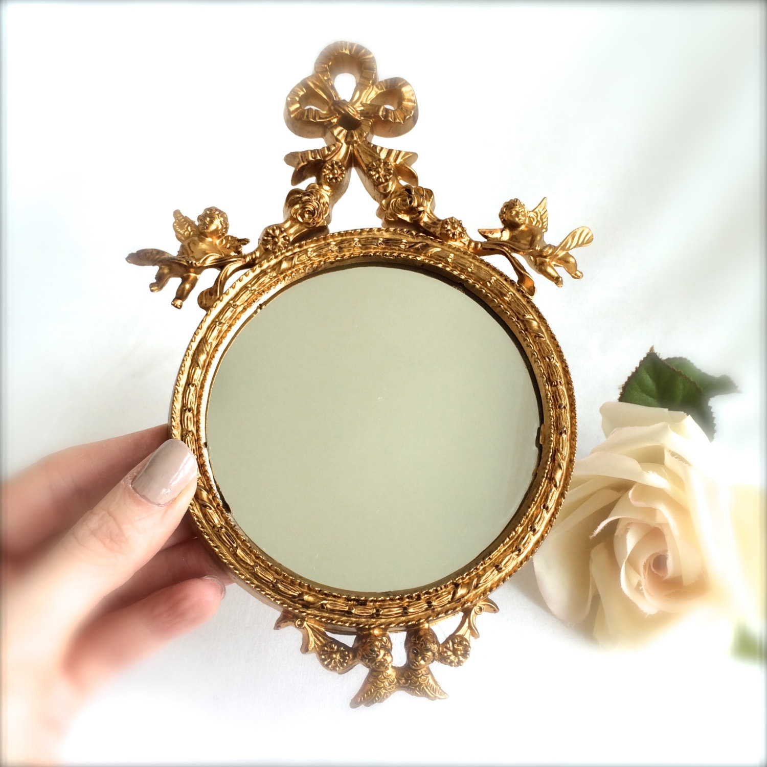 Small Gold Mirror Ornate Round Miniature Mirror Bow And Cherub Within Small Ornate Mirrors (Image 11 of 15)