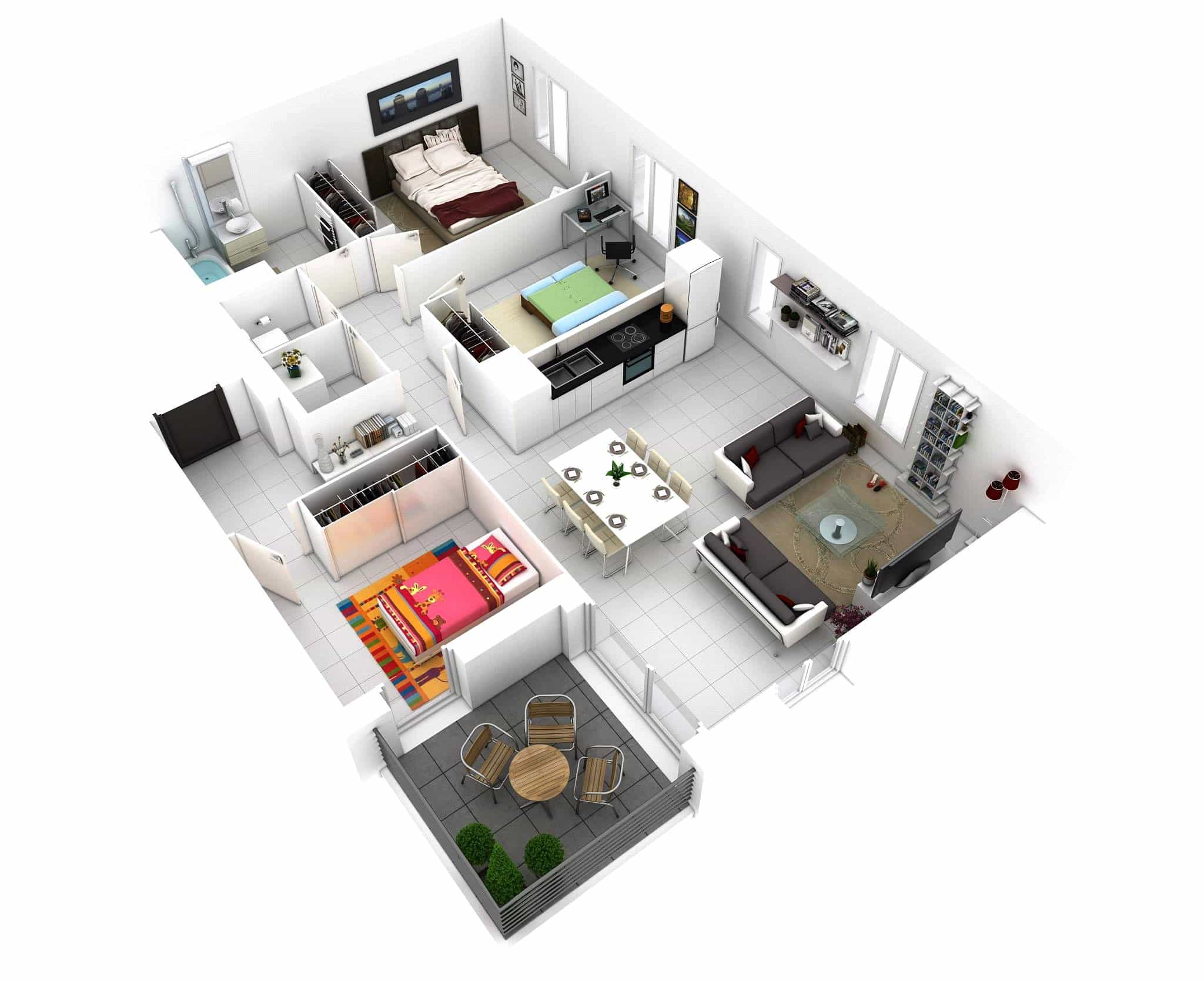 Small House Floor Plans With 3 Bedroom And 1 Bathroom 3d Layout (Image 11 of 11)