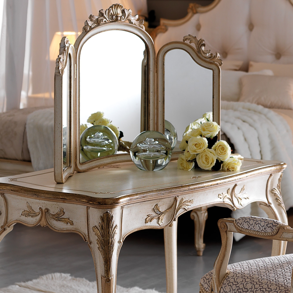Small Ornate Italian Designer Dressing Table Set Juliettes Inside Ornate Dressing Table Mirror (Image 13 of 15)