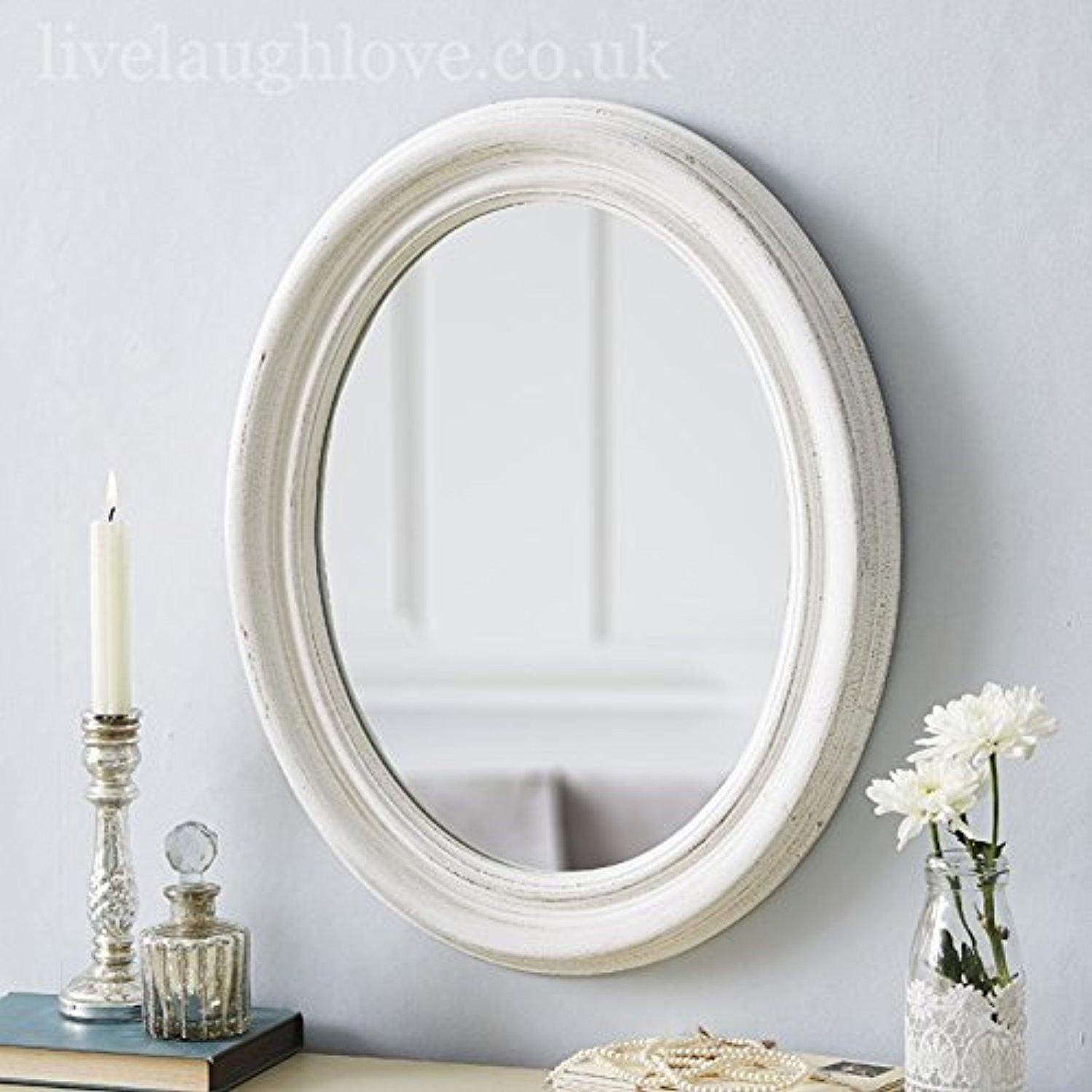 Small Oval Shab Chic Mirror White Live Laugh Love Throughout Oval Shabby Chic Mirror (Image 12 of 15)