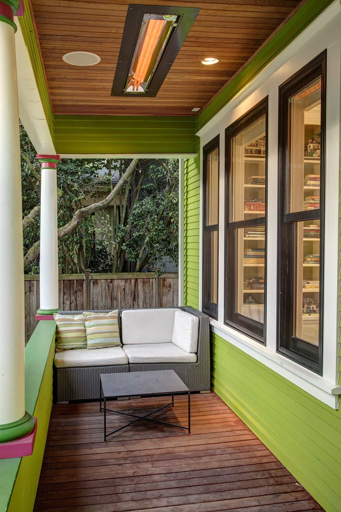 Small Pillars For Modern Front Terrace With Lime Green Walls And Wicker Loveseat (View 9 of 20)