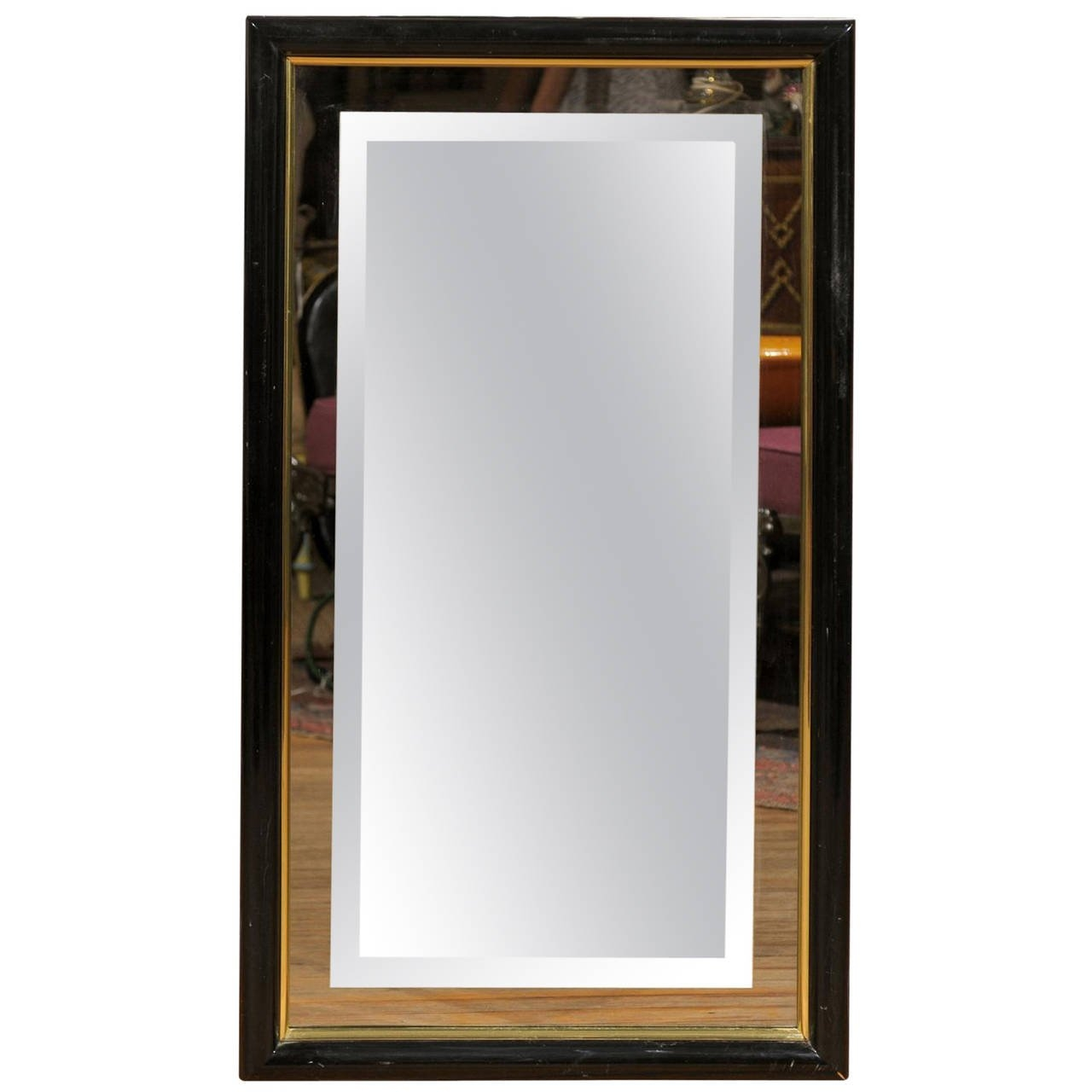 Smoked And Beveled Glass Wall Mirror In A Black And Brass Frame For Brass Mirrors For Sale (Image 12 of 15)