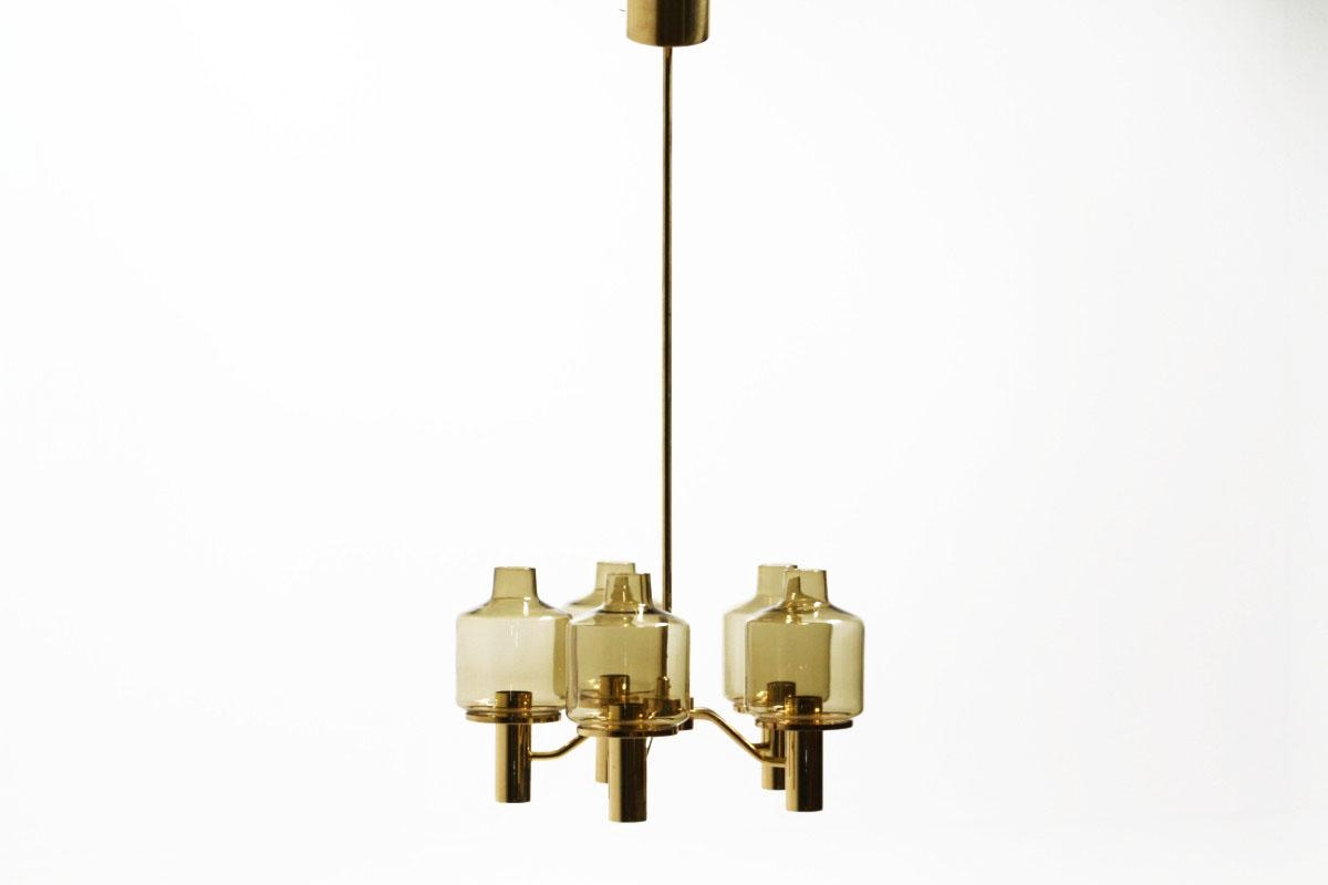 Smoked Glass Chandelier Hans Agne Jakobsson For Markaryd 1960s For Smoked Glass Chandelier (Image 13 of 15)